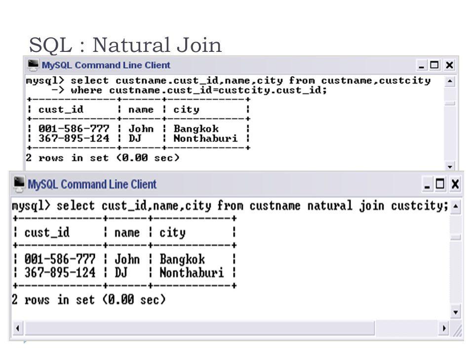 SQL : Natural Join