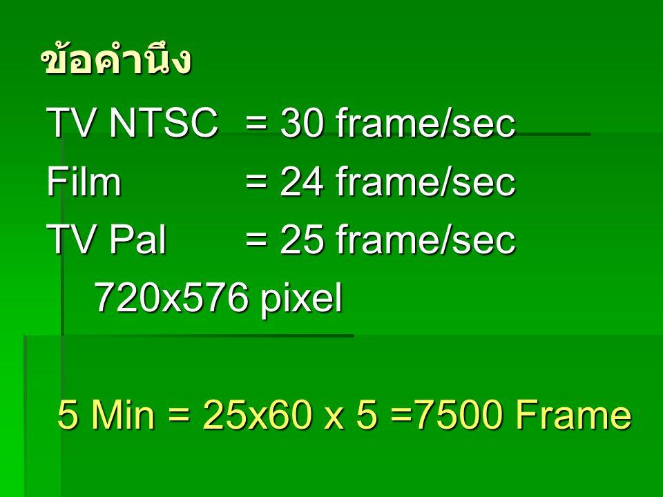 ข้อคำนึง TV NTSC = 30 frame/sec. Film = 24 frame/sec.