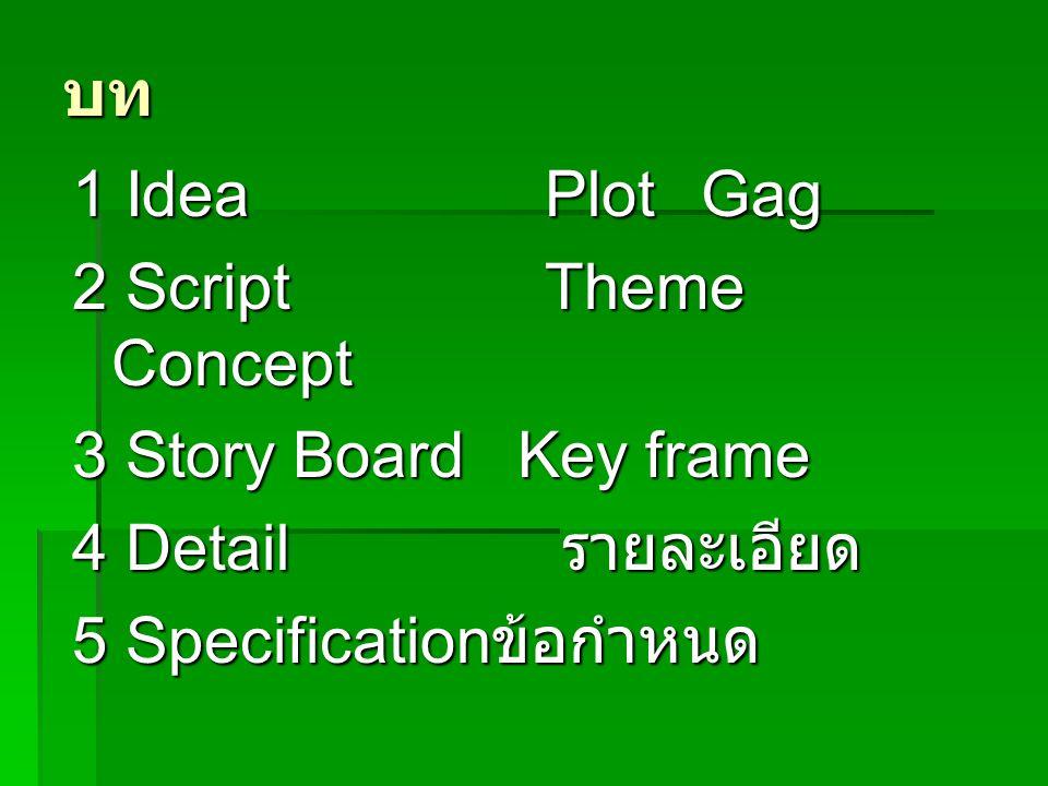 บท 1 Idea Plot Gag. 2 Script Theme Concept. 3 Story Board Key frame. 4 Detail รายละเอียด.
