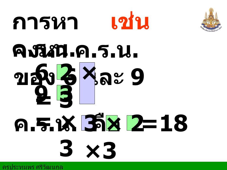 การหา ค.ร.น. เช่น จงหา ค.ร.น. ของ 6 และ 9 6 = 2 × 3 9 = 3 × 3 ค.ร.น. คือ 3 × 2 ×3 =18