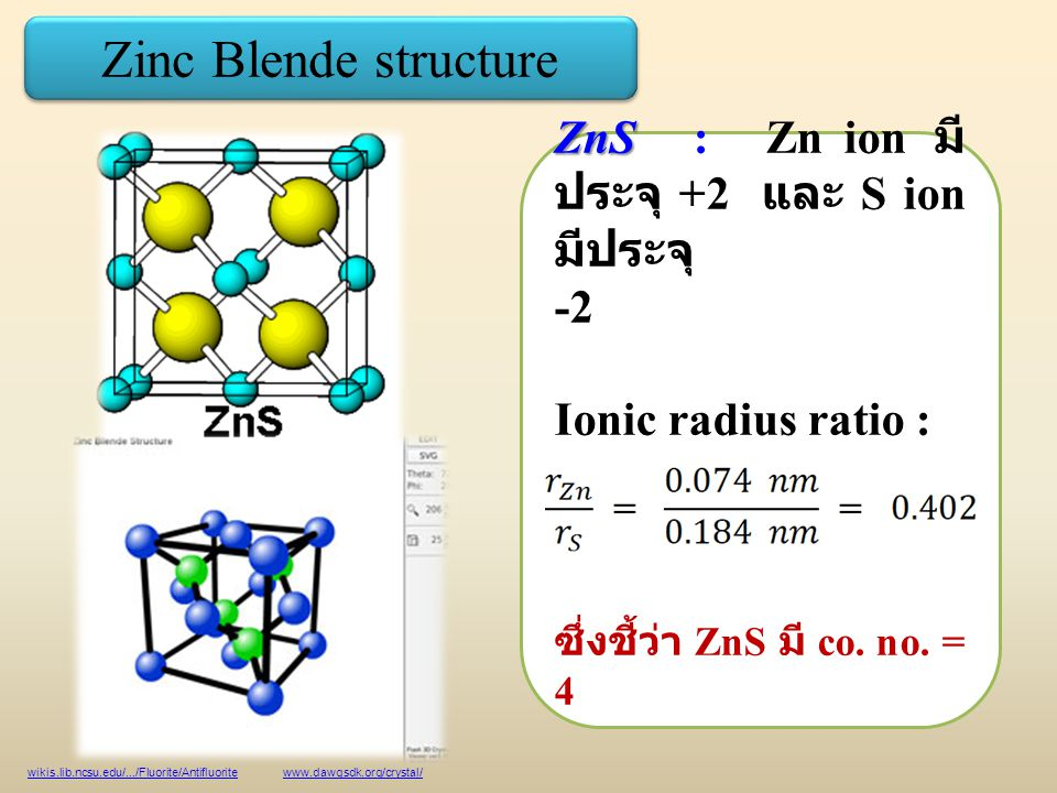 Zinc Blende structure ZnS : Zn ion มีประจุ +2 และ S ion มีประจุ -2