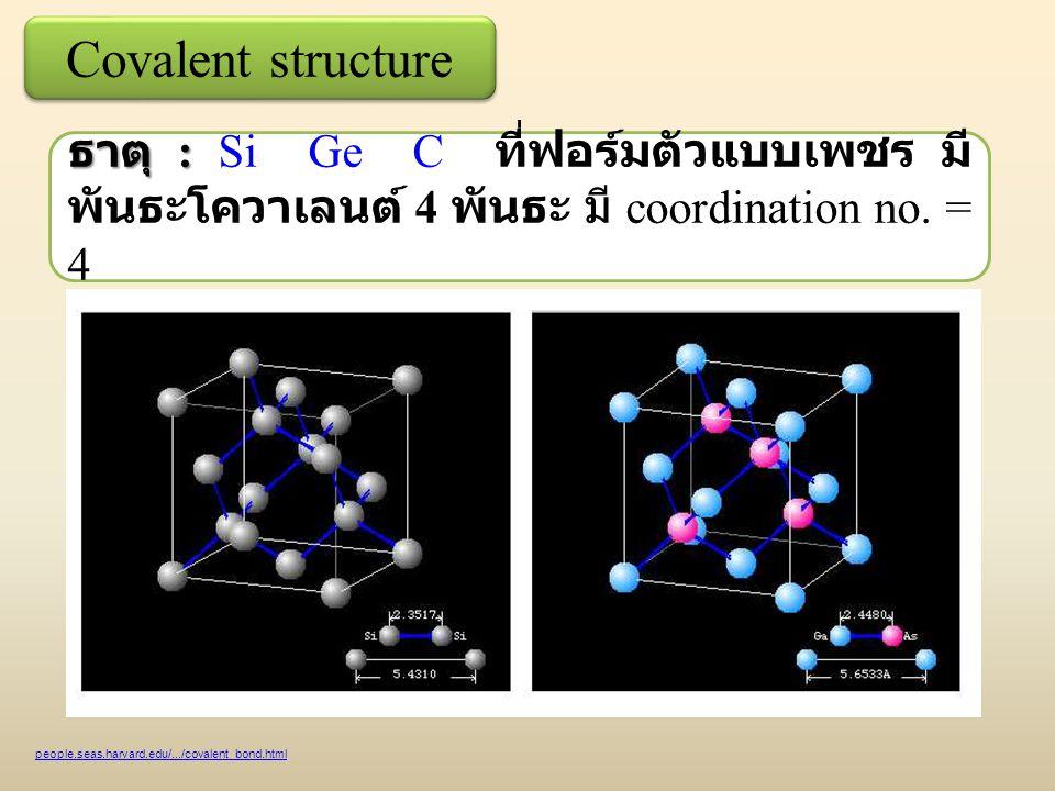 Covalent structure ธาตุ : Si Ge C ที่ฟอร์มตัวแบบเพชร มีพันธะโควาเลนต์ 4 พันธะ มี coordination no. = 4.