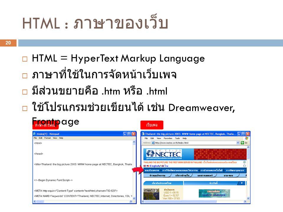 HTML : ภาษาของเว็บ HTML = HyperText Markup Language