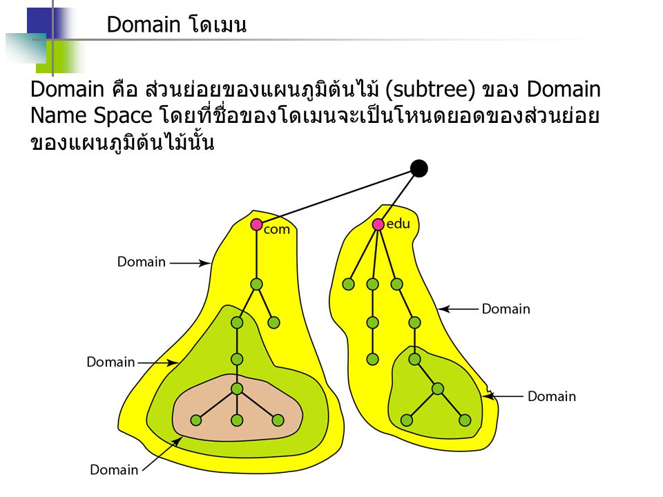 Domain โดเมน Domain คือ ส่วนย่อยของแผนภูมิต้นไม้ (subtree) ของ Domain Name Space โดยที่ชื่อของโดเมนจะเป็นโหนดยอดของส่วนย่อยของแผนภูมิต้นไม้นั้น.