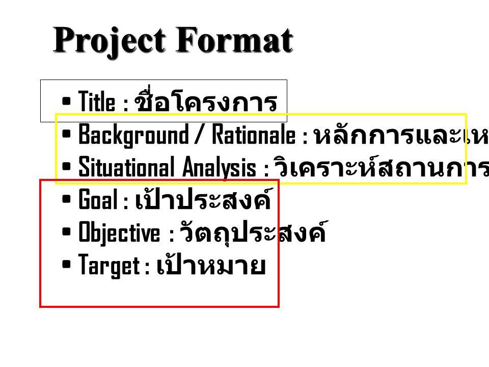 Project Format Title : ชื่อโครงการ