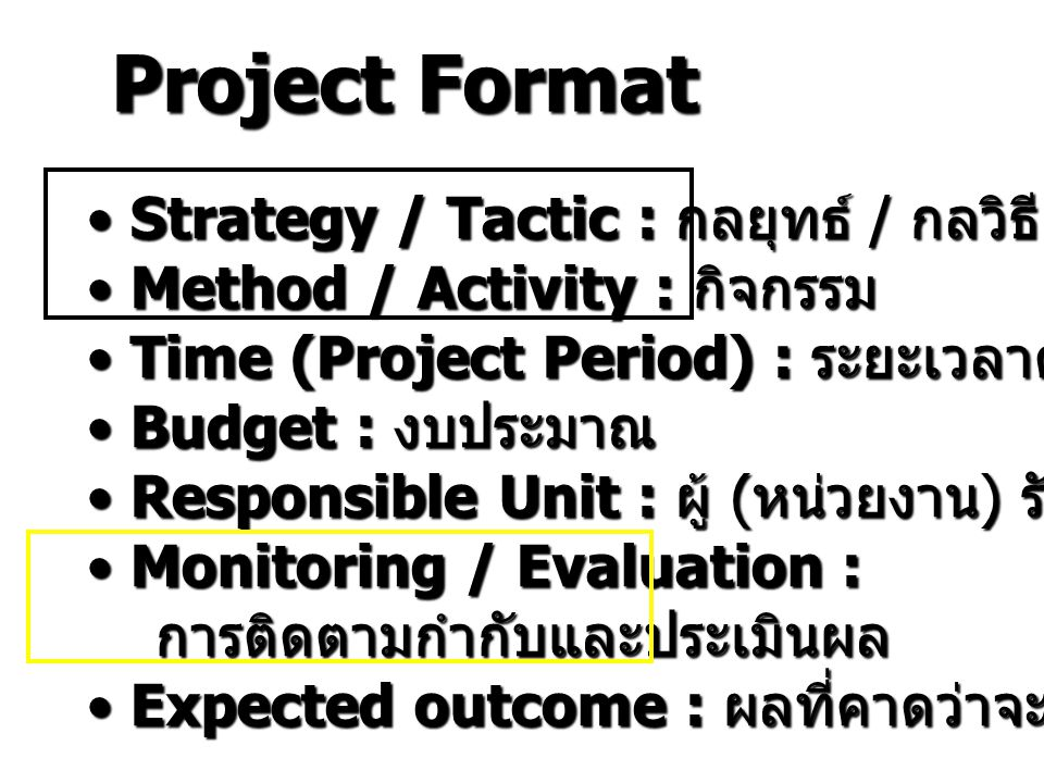 Project Format Strategy / Tactic : กลยุทธ์ / กลวิธี