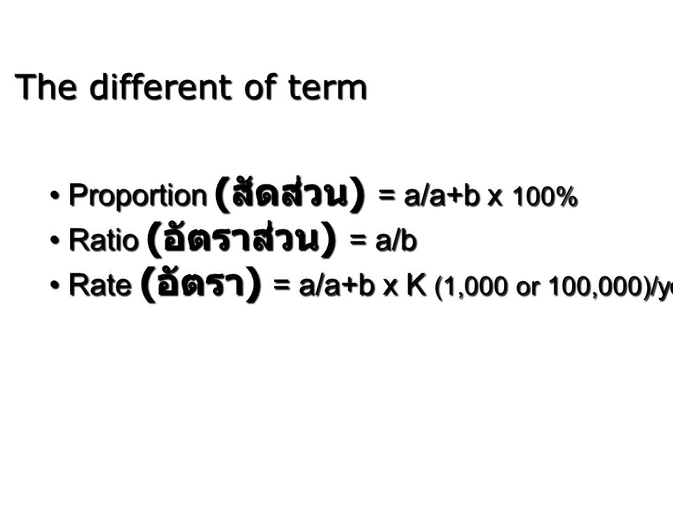 The different of term Proportion (สัดส่วน) = a/a+b x 100%
