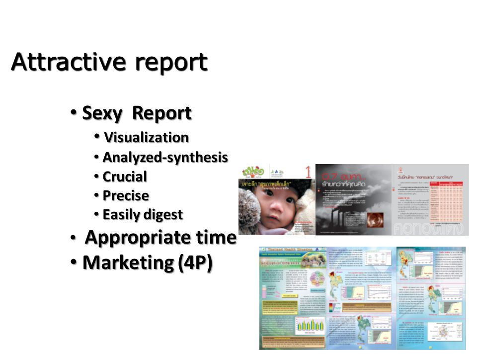 Attractive report Sexy Report Marketing (4P) Visualization