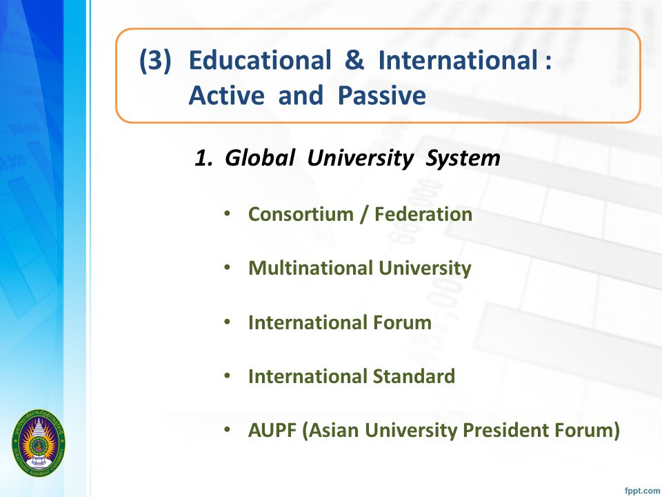 (3) Educational & International : Active and Passive