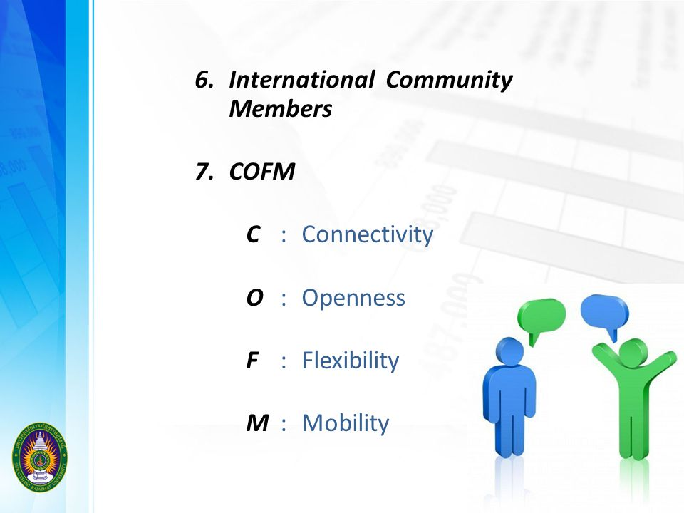 6. International Community Members 7