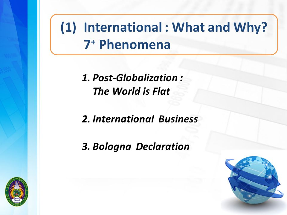 (1) International : What and Why 7+ Phenomena