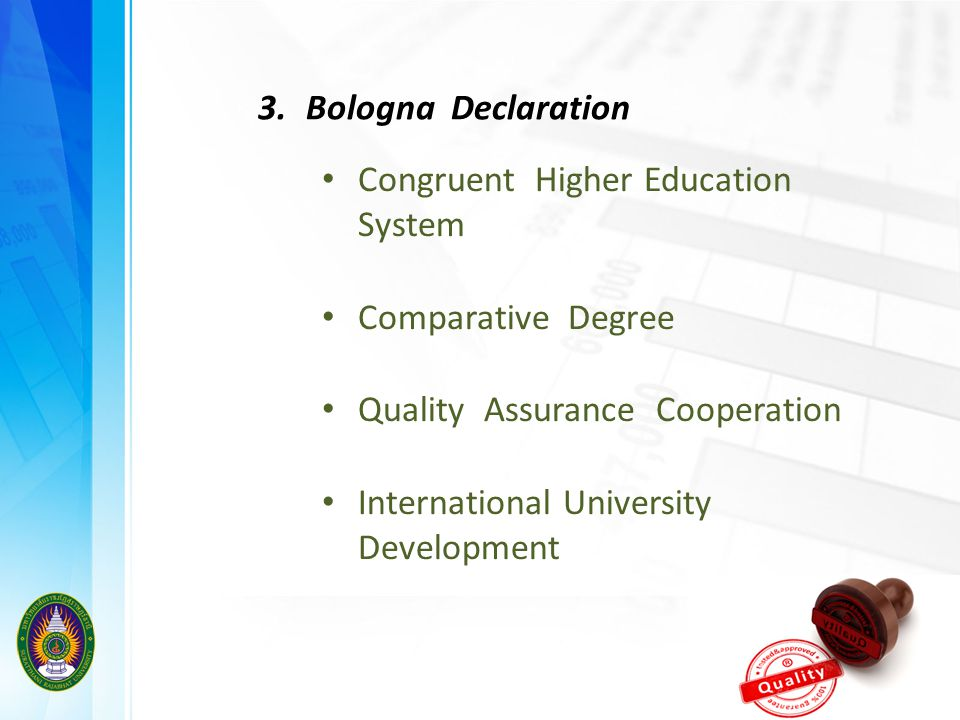 3. Bologna Declaration Congruent Higher Education System. Comparative Degree. Quality Assurance Cooperation.