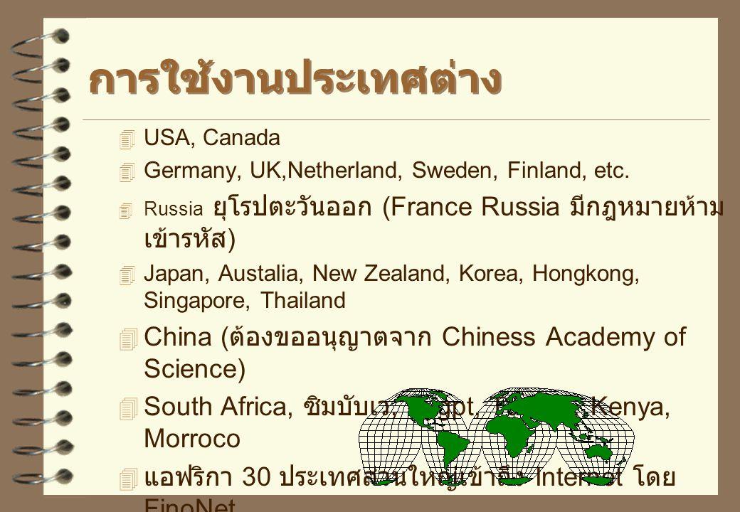 การใช้งานประเทศต่าง China (ต้องขออนุญาตจาก Chiness Academy of Science)