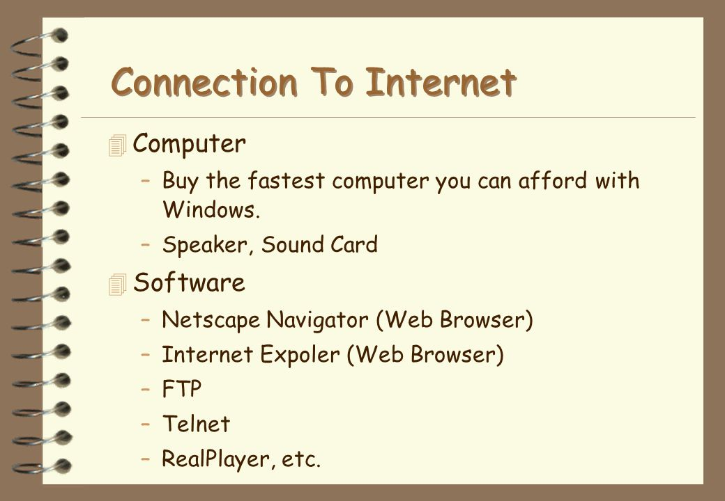 Connection To Internet