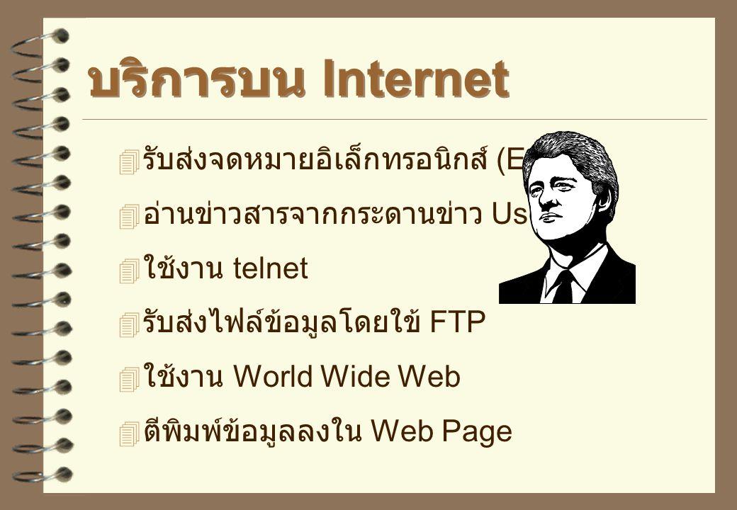 บริการบน Internet รับส่งจดหมายอิเล็กทรอนิกส์ (E-mail)
