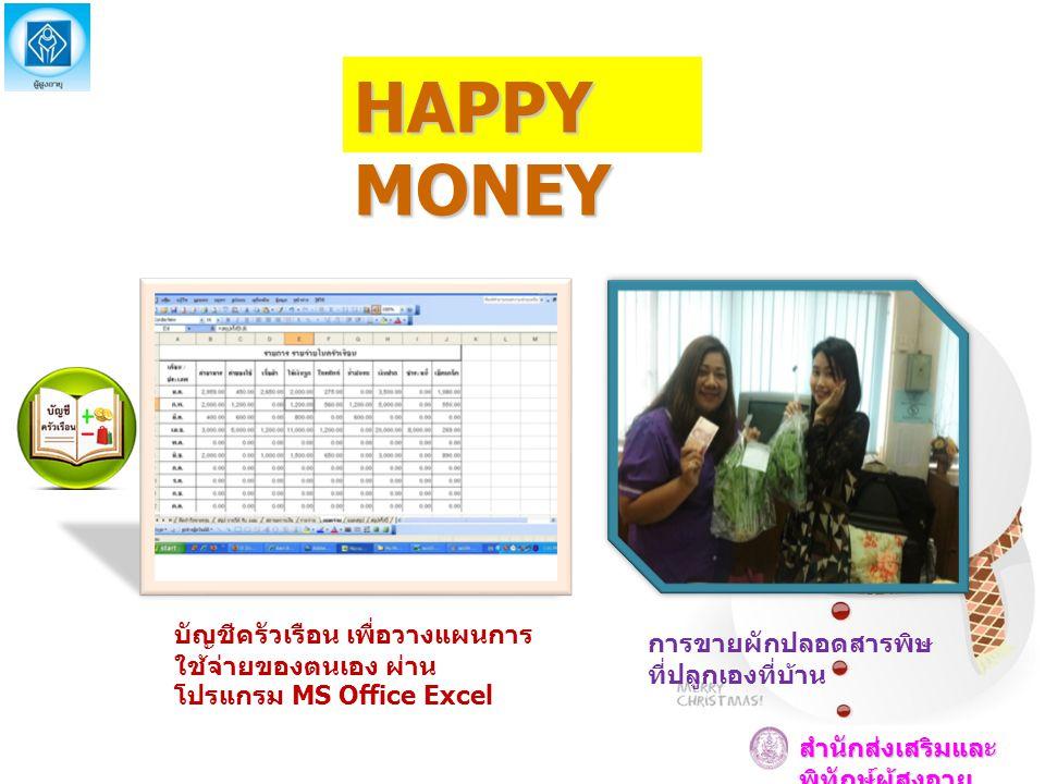 HAPPY MONEY บัญชีครัวเรือน เพื่อวางแผนการใช้จ่ายของตนเอง ผ่านโปรแกรม MS Office Excel. การขายผักปลอดสารพิษที่ปลูกเองที่บ้าน.