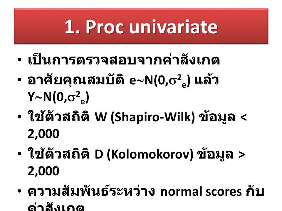 1. Proc univariate เป็นการตรวจสอบจากค่าสังเกต