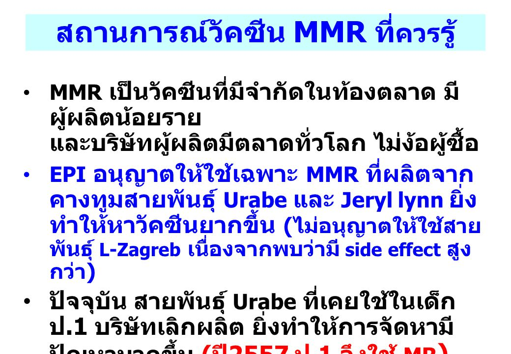 สถานการณ์วัคซีน MMR ที่ควรรู้