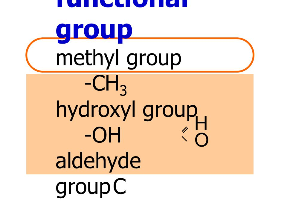 functional group methyl group -CH3 hydroxyl group -OH aldehyde group C