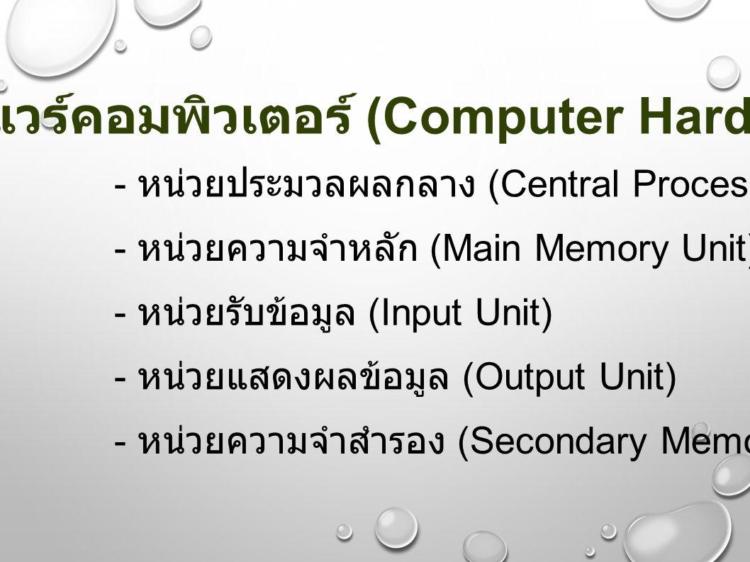 ฮาร์ดแวร์คอมพิวเตอร์ (Computer Hardware)