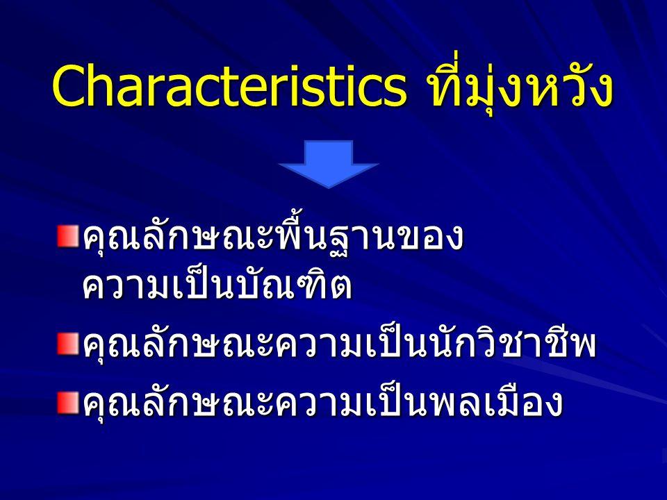 Characteristics ที่มุ่งหวัง