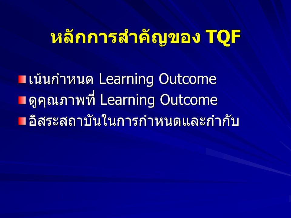 หลักการสำคัญของ TQF เน้นกำหนด Learning Outcome