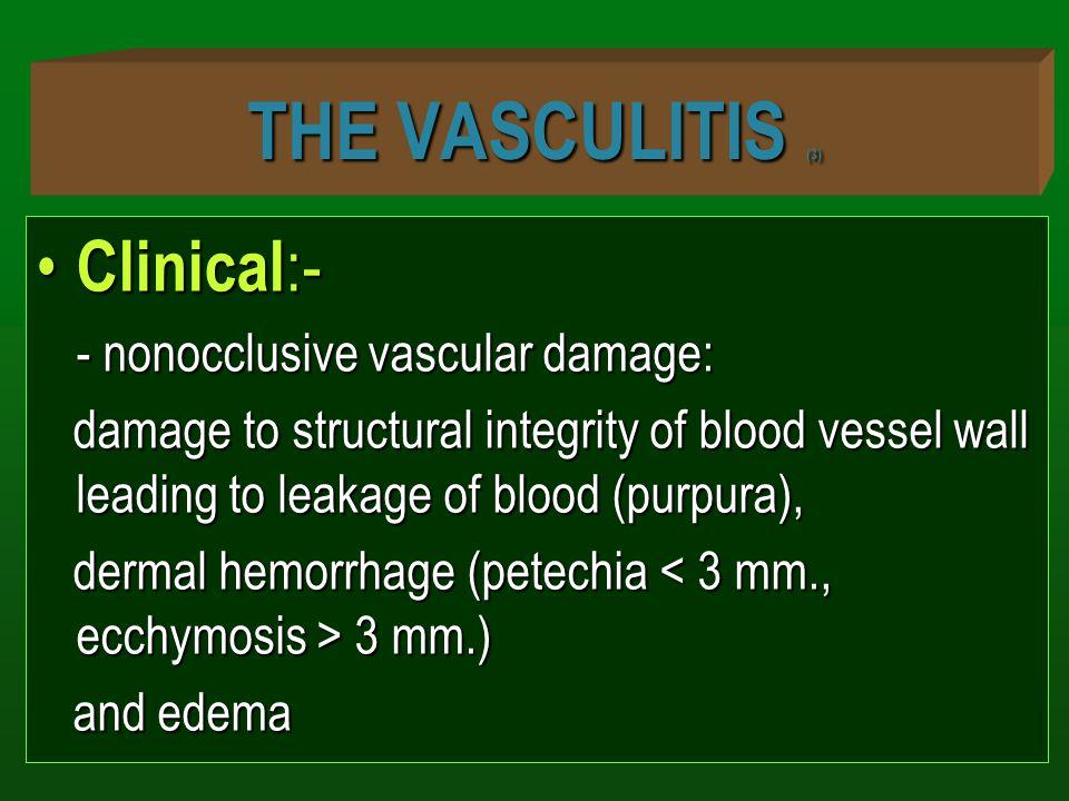 THE VASCULITIS (3) Clinical:- - nonocclusive vascular damage:
