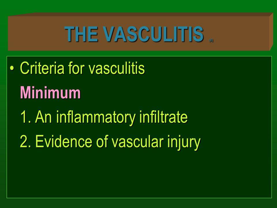 THE VASCULITIS (4) Criteria for vasculitis Minimum