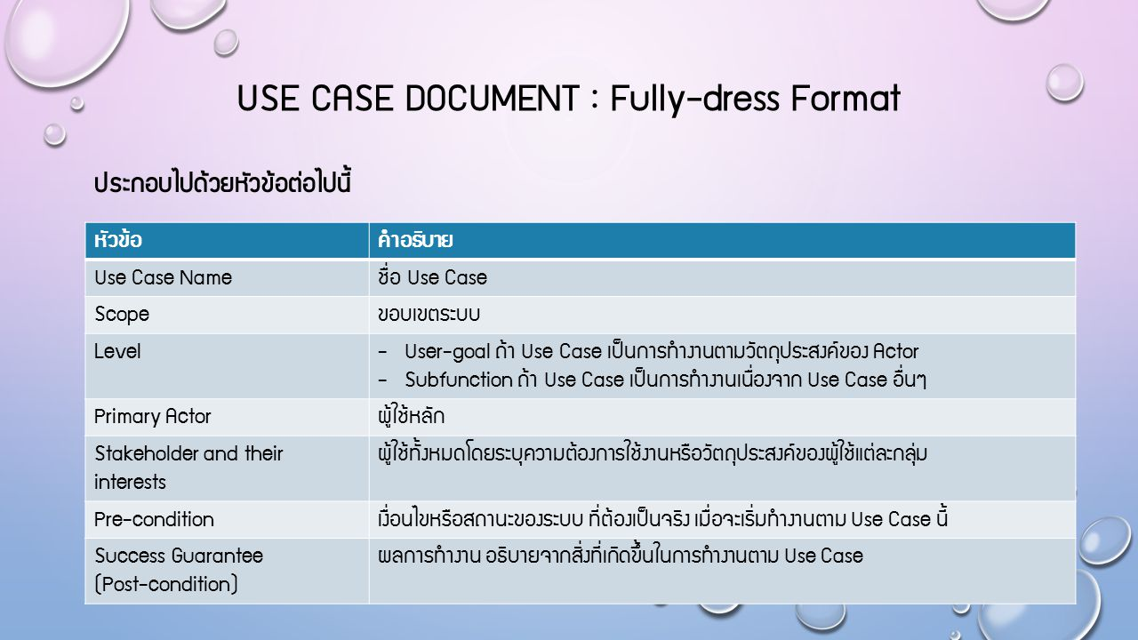 USE CASE Document : Fully-dress Format