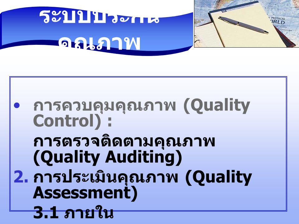 ระบบประกันคุณภาพ การควบคุมคุณภาพ (Quality Control) :