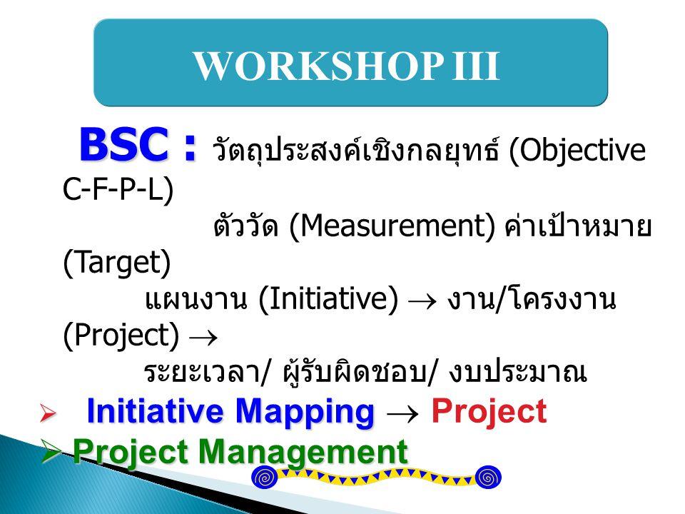 BSC : วัตถุประสงค์เชิงกลยุทธ์ (Objective C-F-P-L)