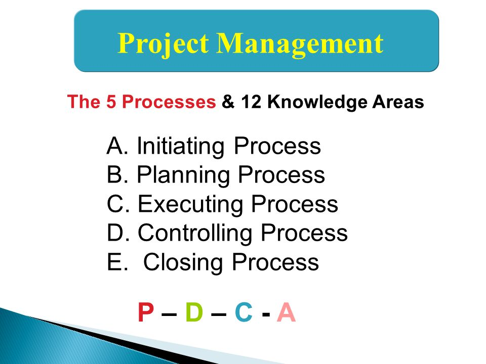 Project Management P – D – C - A A. Initiating Process