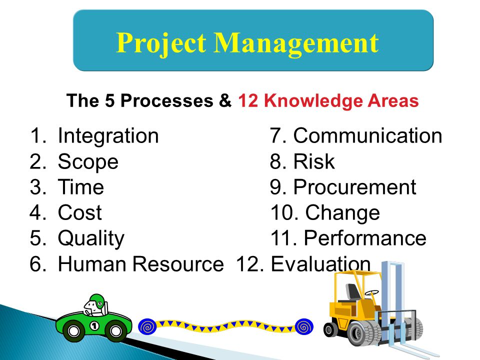 Project Management Integration 7. Communication Scope 8. Risk