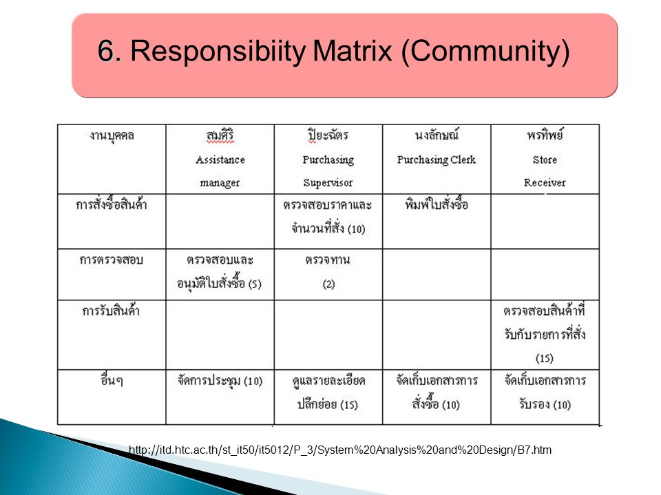 6. Responsibiity Matrix (Community)