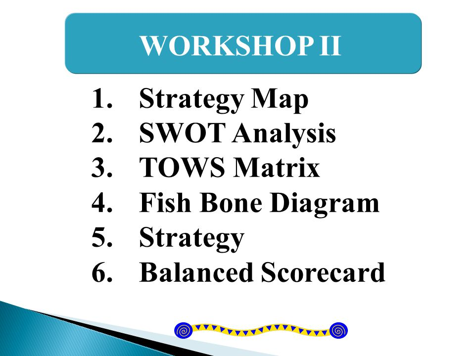 WORKSHOP II Strategy Map SWOT Analysis TOWS Matrix Fish Bone Diagram Strategy Balanced Scorecard