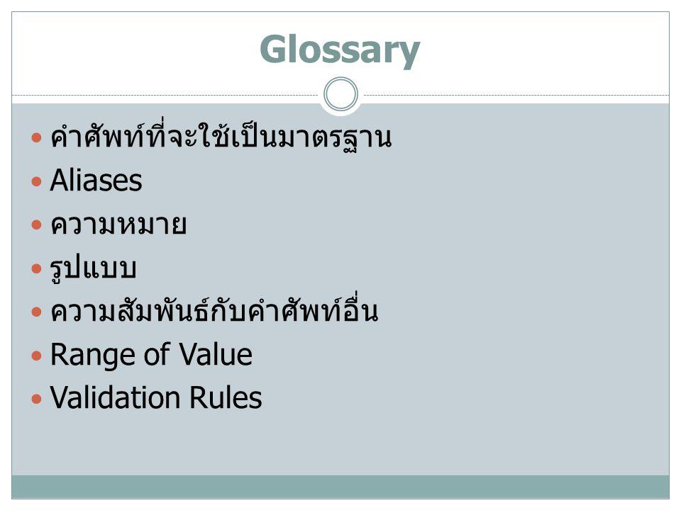 Glossary คำศัพท์ที่จะใช้เป็นมาตรฐาน Aliases ความหมาย รูปแบบ