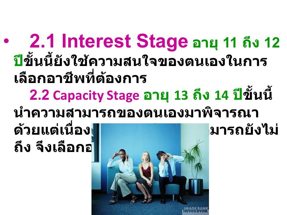 2.1 Interest Stage อายุ 11 ถึง 12 ปีขั้นนี้ยังใช้ความสนใจของตนเองในการเลือกอาชีพที่ต้องการ 2.2 Capacity Stage อายุ 13 ถึง 14 ปีขั้นนี้ นำความสามารถของตนเองมาพิจารณาด้วยแต่เนื่องจากความรู้ความสามารถยังไม่ถึง จึงเลือกอาชีพแบบทดลอง