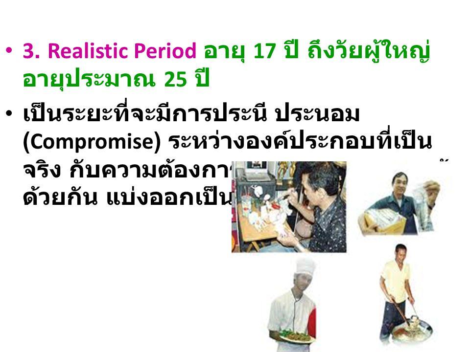 3. Realistic Period อายุ 17 ปี ถึงวัยผู้ใหญ่ อายุประมาณ 25 ปี