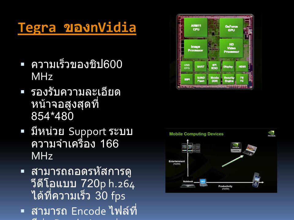 Tegra ของnVidia ความเร็วของชิป600 MHz