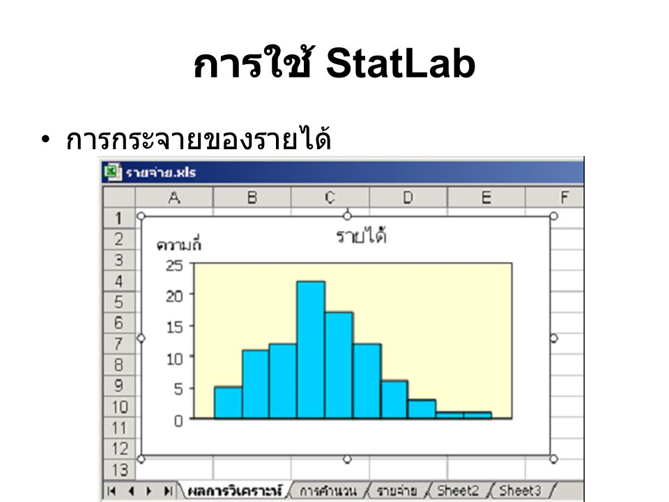 การใช้ StatLab การกระจายของรายได้