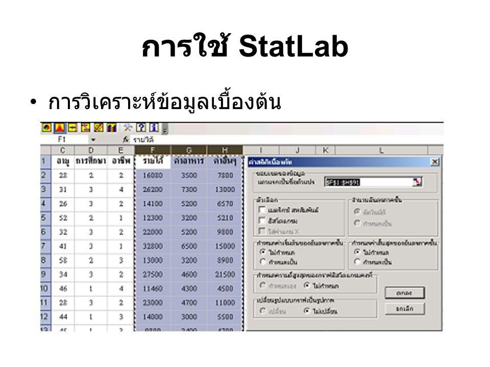 การใช้ StatLab การวิเคราะห์ข้อมูลเบื้องต้น