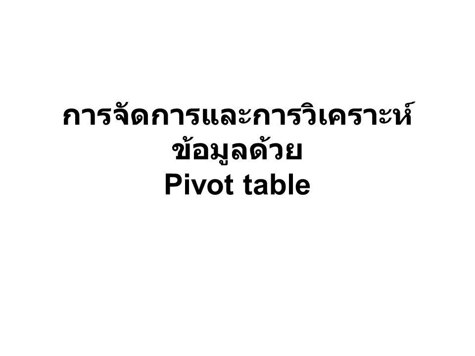 การจัดการและการวิเคราะห์ข้อมูลด้วย Pivot table