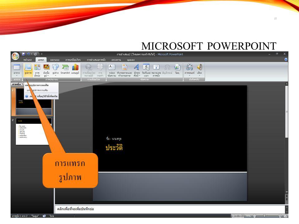 Microsoft PowerPoint การแทรกรูปภาพ