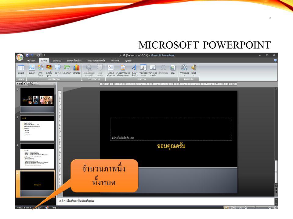 Microsoft PowerPoint จำนวนภาพนิ่งทั้งหมด