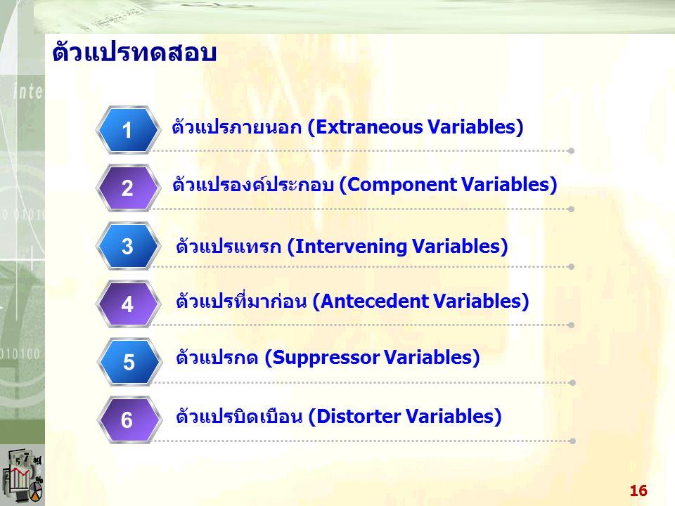 ตัวแปรทดสอบ 1 2 3 4 5 6 ตัวแปรภายนอก (Extraneous Variables)