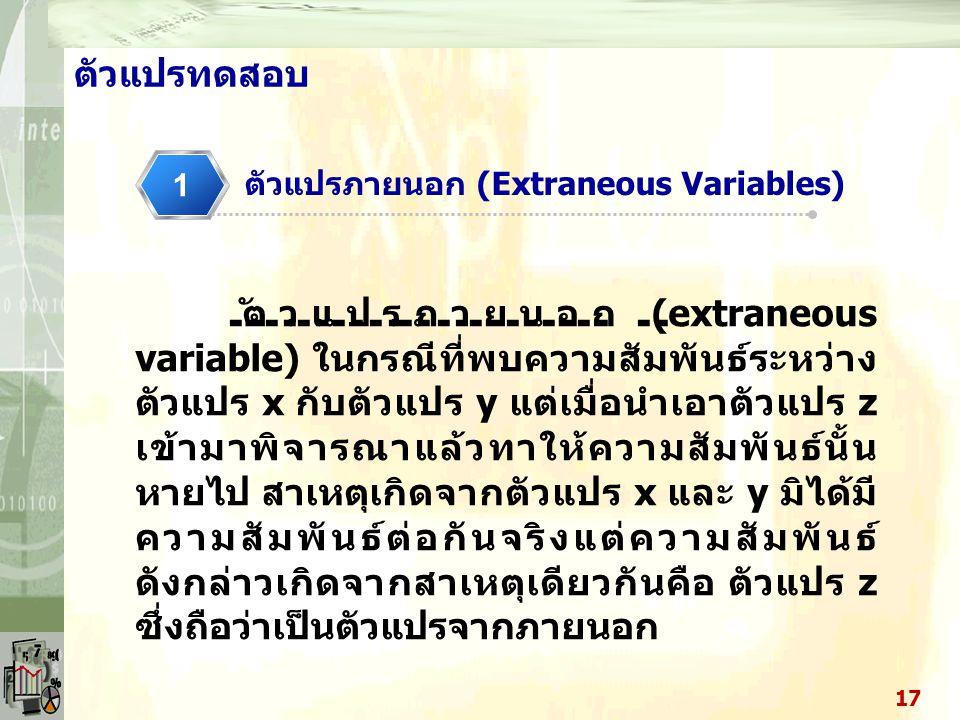 ตัวแปรทดสอบ ตัวแปรภายนอก (Extraneous Variables) 1.