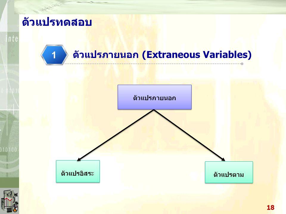 ตัวแปรทดสอบ 1 ตัวแปรภายนอก (Extraneous Variables) ตัวแปรภายนอก