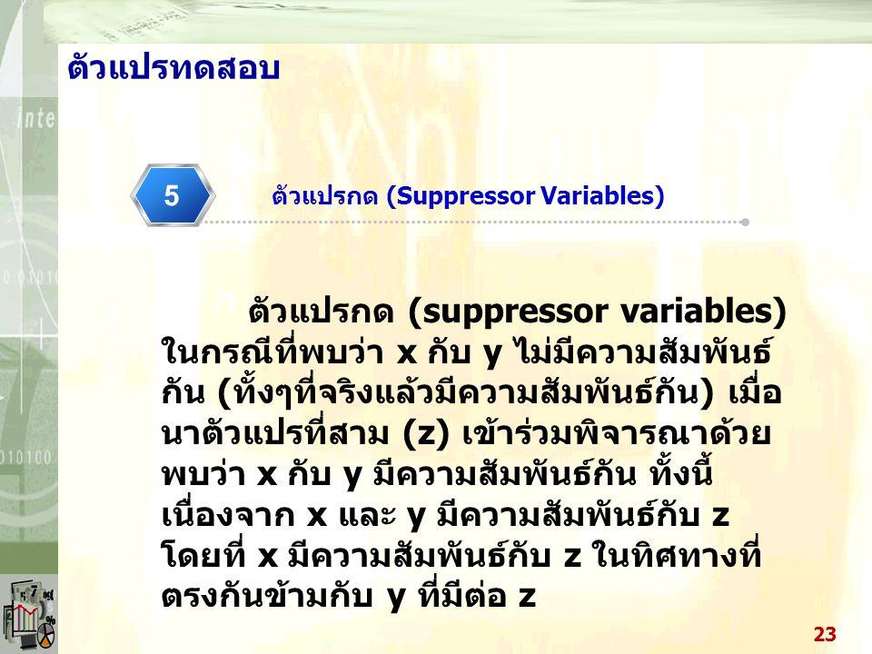 ตัวแปรกด (Suppressor Variables)