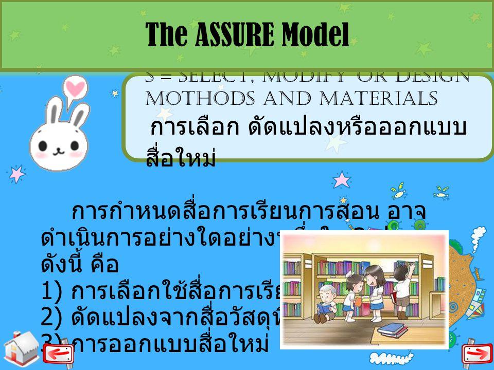 The ASSURE Model S = SELECT, MODIFY OR DESIGN MOTHODS AND MATERIALS การเลือก ดัดแปลงหรือออกแบบสื่อใหม่