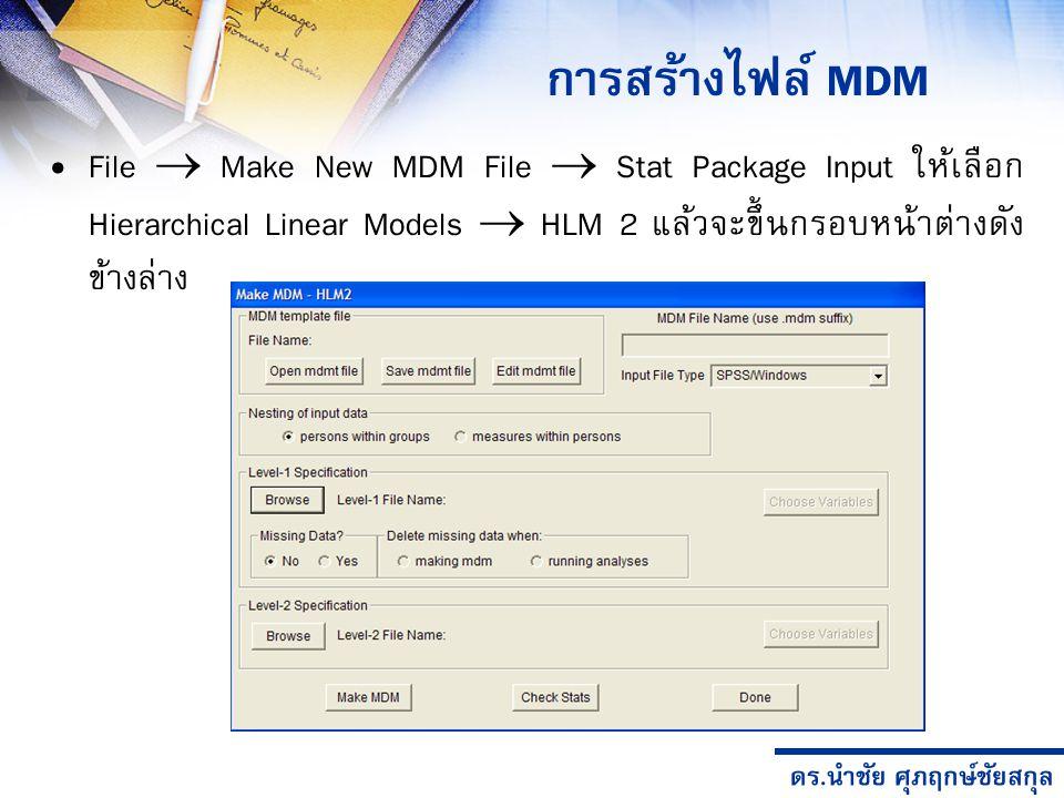 การสร้างไฟล์ MDM File  Make New MDM File  Stat Package Input ให้เลือก Hierarchical Linear Models  HLM 2 แล้วจะขึ้นกรอบหน้าต่างดังข้างล่าง.